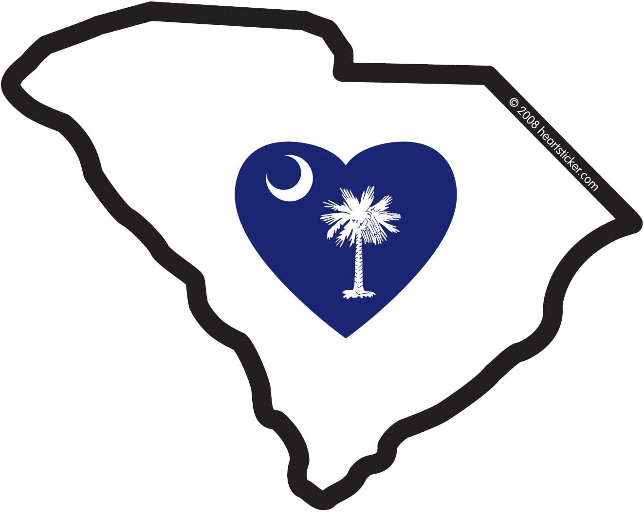 South Carolina Sticker Sc State Shaped Decal Blue Flag Heart Crescent Moon Palm Tree Apply To Water Bottle Laptop Cooler Car Truck Bumper Tumbler 803