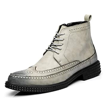 DANDANJIE Botines para Hombre Oficina Zapatos de Cuero Estilo británico Cremallera Lateral Negocio Otoño Oxford: Amazon.es: Deportes y aire libre