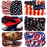 Multifunctional Stretchable Sport & Casual Headwear, Headband Scarf Bandanna Headwrap Mask Neckwarmer & More 12-in-1, 6PC.The Stars and Stripes Series