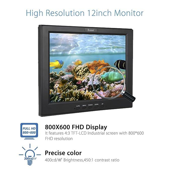 Eyoyo 12 Pulgadas Monitor TFT LCD CCTV HD Pantalla (4: 3 ,800x600, 400cd / ㎡,BNC, AV, HDMI): Amazon.es: Bricolaje y herramientas