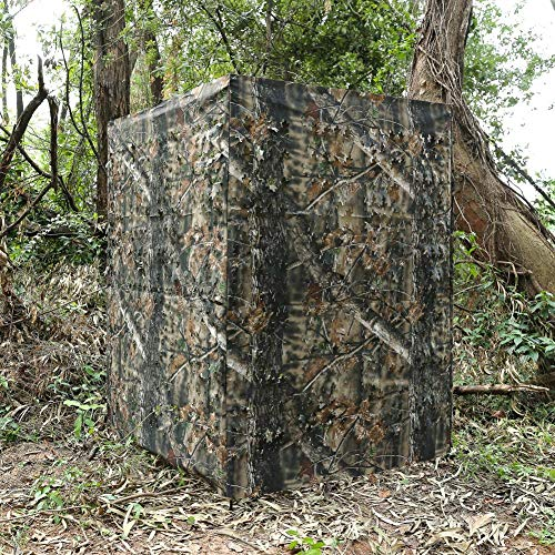 (Auscamotek Ground Blind 5×10 Feet for Deer Hunting Turkey Blinds Camouflage Pattern Height Adjustable -Woodland Brown Leaf )