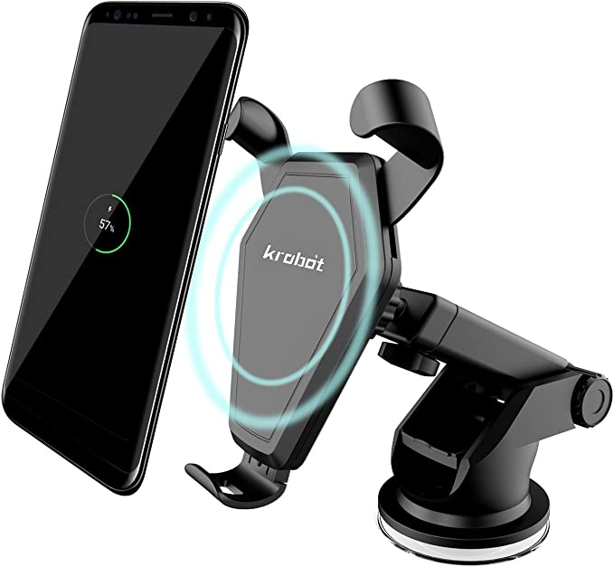 Krobot Wireless Fast Charger Car Mount Qi for Samsung Galaxy S8, S7S7 Edge, Note 85 Huawei Standard Charge for iPhone X,iPhone 88 Plus & Qi Enabled