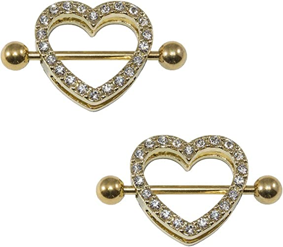 316L Surgical Steel Gold Ion Plated Screw Nipple Bar Eyebrow Ring