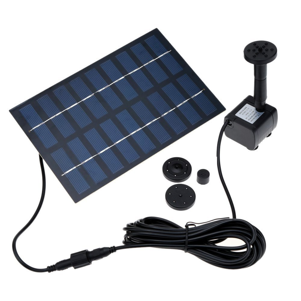HOPPIC 1.8W Small Solar Water Pump with Different Water Flows, Solar Fountain for Bird Bath Garden Small Pound