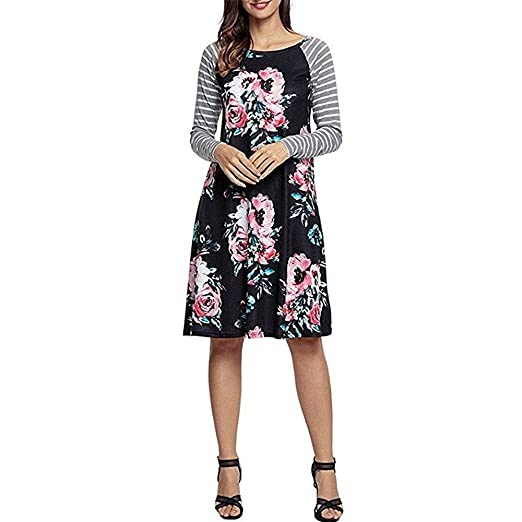 Image Unavailable. Image not available for. Color  Women Dresses Women s  Floral Print Long Sleeve O-Neck Stripe Patchwork Casual Plus Size Dress adcad1aa3242