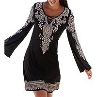 QinMM Vestido de la túnica del Boho del Halter de la Mujer, Mini Vestido de la Fiesta de la Playa de Manga Larga Falda