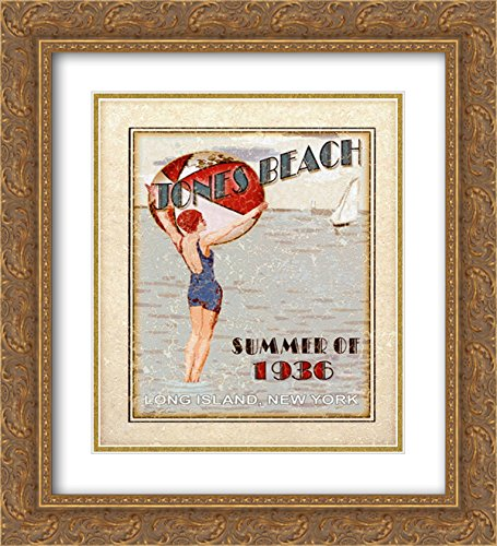 Sally ray Cairns - Jones Beach 2x Matted 20x24 Gold Ornate Framed Art Print by Sally Ray - Rays Cairns