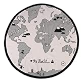 135cm Round Playing Mat World Map Floor Crawling Pad for Baby Kid