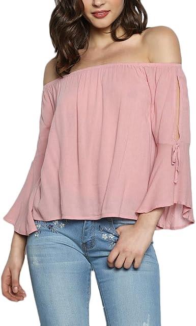 Camisas Mujer Elegantes Sin Hombro Trompeta Manga Blusas Moda Fiesta Primavera Otoño Anchas Manga Larga Tops Blusones Rosa S-XL: Amazon.es: Ropa y accesorios
