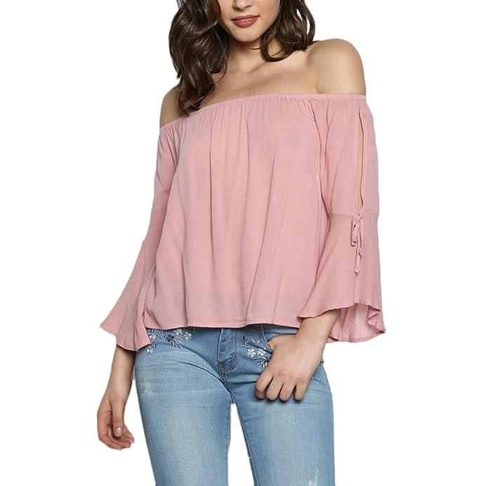 nuovo concetto c4b34 2a047 Camicia Donna Elegante Maniche Tromba Senza Spalline Blusa ...