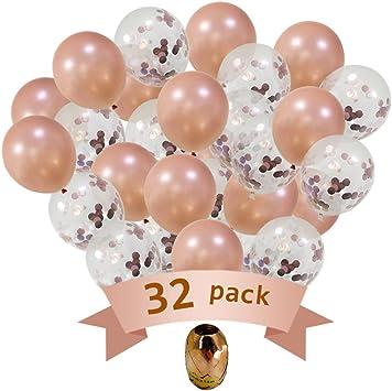 Amazon.com: Globos de oro rosa – Paquete de 32 globos de ...