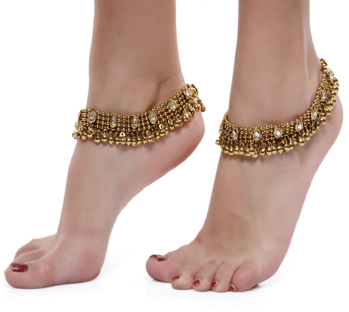 Shining Diva Gold Plated Anklets for Women (5634a) product image