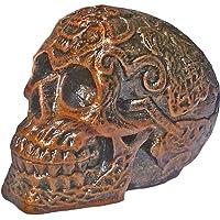 Unique Shape Celtic Skull Figurine Flower Pattern Antique Fancy Human Head Statue Knot Work Alien Halloween- Standard Size, (Brown)