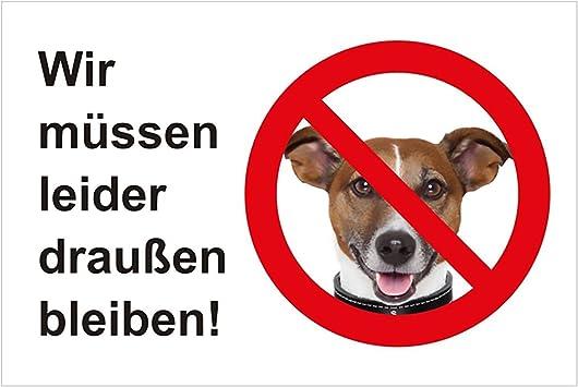 Hinweis-Aufkleber Wir m/üssen leider drau/ßen bleiben I hin/_207 I Gr/ö/ße DIN A4 I Keine Hunde erlaubt Hundeverbot I Sticker wei/ß rot schwarz