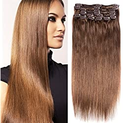 RECOOL Brazilian Hair Straight 10 Pieces For Sale Clip in Hair Extensions Human Hair Silky Straight 100 Gram(20 inch,Light Brown #4)