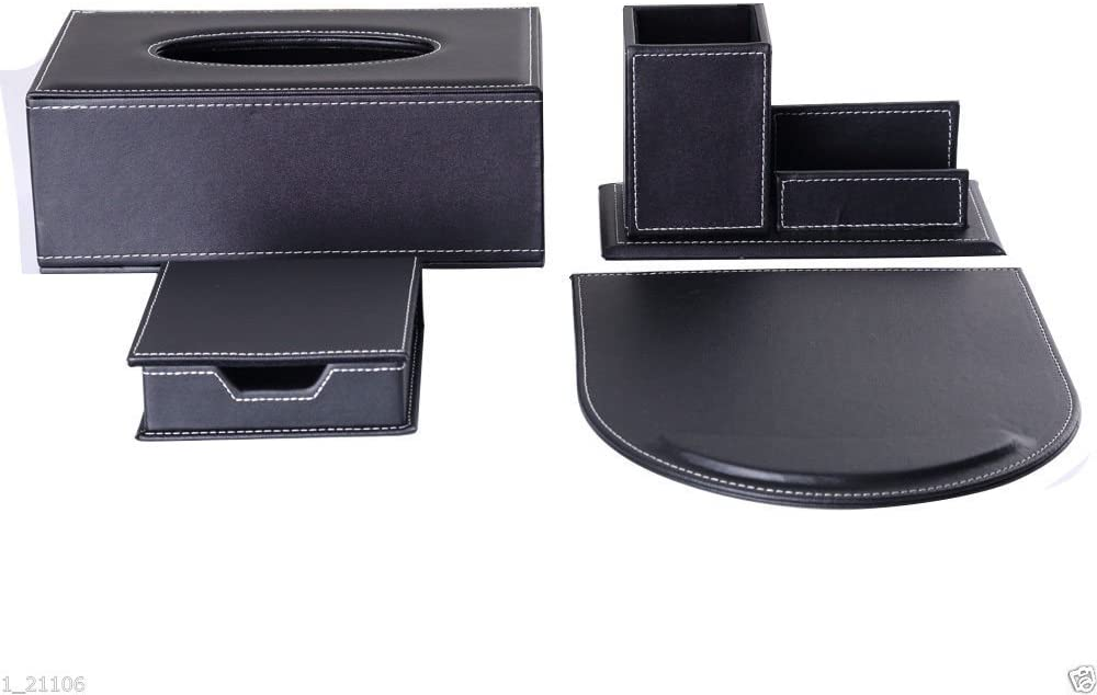 KINGFOM 4PCS/SET Office Accessories Desk Organizer Sets Leatherette Supplies, Tissue Holder, Mouse Pad, Note Papers Holder, Pencil&Business Card Holders T11-Black