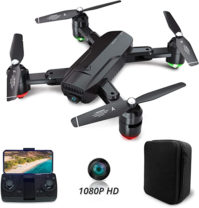 Dragon Touch DF01G Foldable GPS Drones for Adults, FPV Camera Drone HD 1080P with Background Music, Auto Return Home, Follow Me, Tap Fly, RC Drone Quadcopter with Modular Battery& Carrying Case