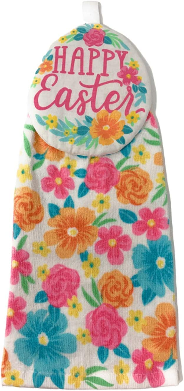 Northeast Home Goods Cotton Hanging Kitchen Tie Towel, 15-Inch x 17-Inch (Floral Happy Easter)