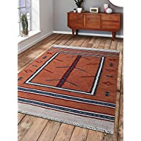 Rugsotic Carpets Hand Woven Kelim Wool 6 x 9 Contemporary Area Rug Orange Blue D00140 With Fringe