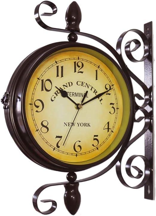 Mentin - Reloj de jardín de doble cara, estación de jardín, reloj de pared para exteriores, estilo antiguo europeo: Amazon.es: Hogar