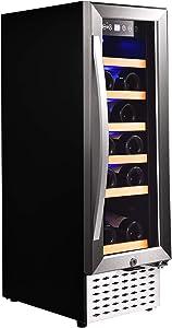 Houssem Wine Cooler Refrigerator 12inch Mini Fridge 18 Bottle Single Zone Built-inFridge Built Freestanding Stainless Steel Double-Layer Glass Door Low Noise and No Fog Wine Cooler Refrigerator