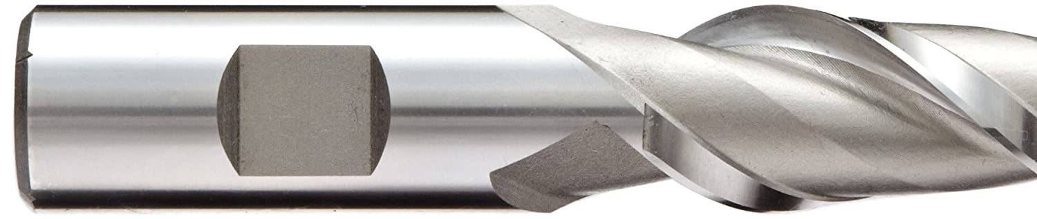 Uncoated Bright Finish 2 Flutes 0.375-Inch Shank Diameter Inch Extra Long Length Weldon Shank 0.375-Inch Cutting Diameter YG-1 19055 High Speed Steel HSS Square Nose End Mill 4.25-Inch Overall Length 42 Degree Helix