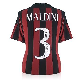exclusivememorabilia.com Camiseta de fútbol del AC Milan 2015-16 firmada por Paolo Maldini