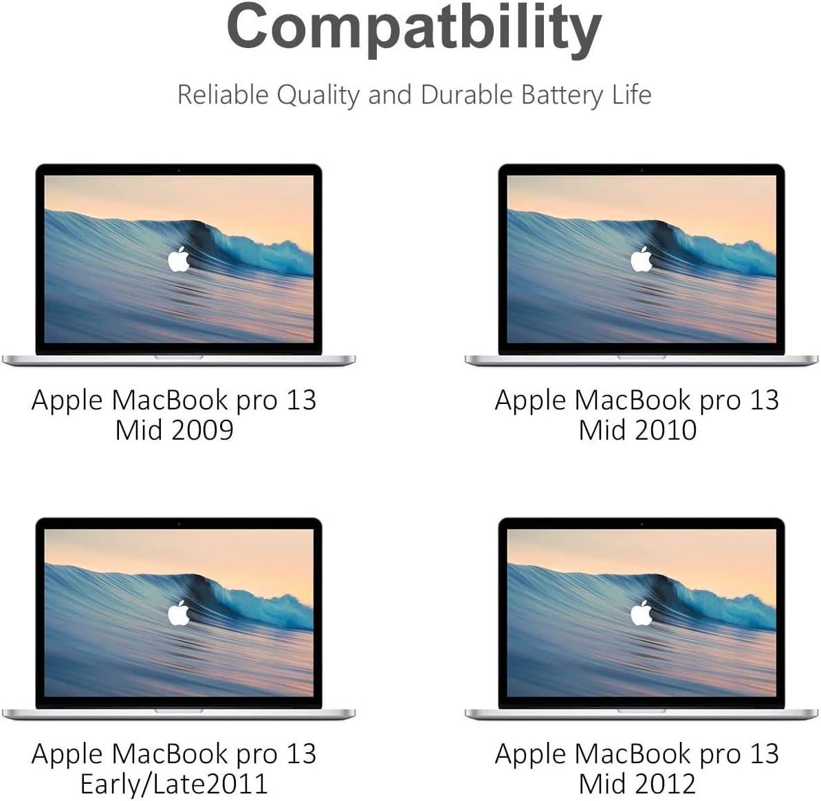 MacBook Pro 13 MC374CH//A MC375LL//A Li-Polymer 10,95 V 63,5 Wh A1278 mi-2009 mi-2010 d/ébut 2010 fin 2011 fin 2011 mi-2012 PowerZJS A1322 Batterie dordinateur portable pour MacBook Pro 13