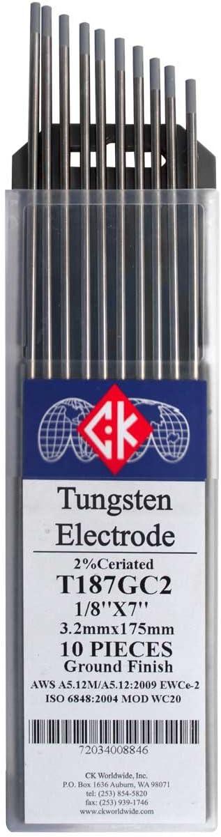 """Ck Worldwide 2/% 2/%thoriated T1167gt2 1//16/""""X7/"""" Tungsten Pack Of 10"""