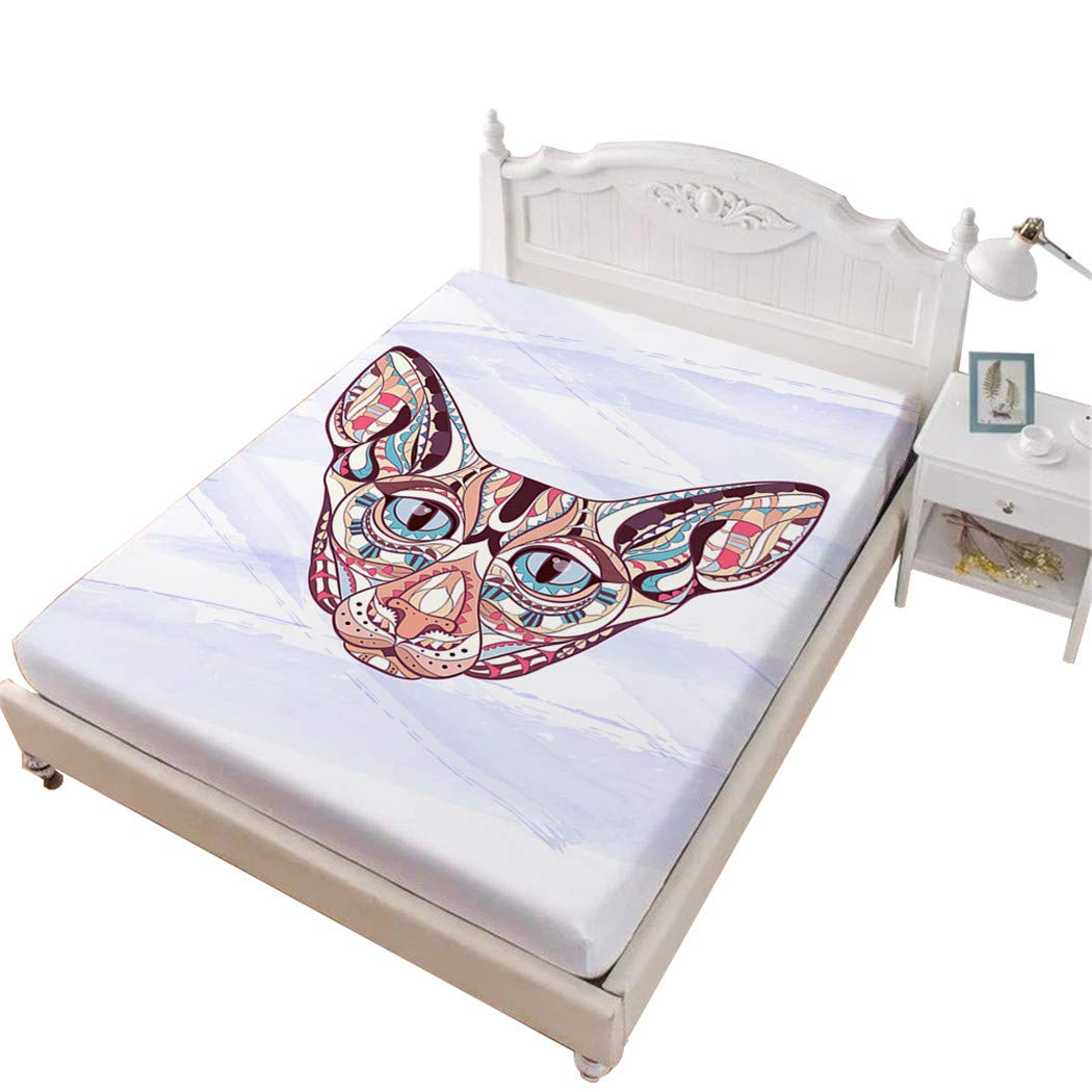 Jessy Home Fittied Sheet King Canadian Hairless Cat 3D Bedding Bedroom Decor Gifts for Girls,White
