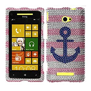 Nextkin HTC Windows Phone 8X Zenith 6990 Bling Crystal Full Rhinestones Diamond Case Protector - Blue Anchor On Pink White