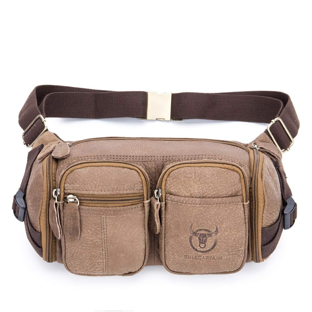 MUMUWU Men's Leather Bag Riding Sports First Layer Leather Belt Multi-Functional Multi-Layer Waterproof Pockets Mobile Phone Bag (Color : Brown, Size : M)