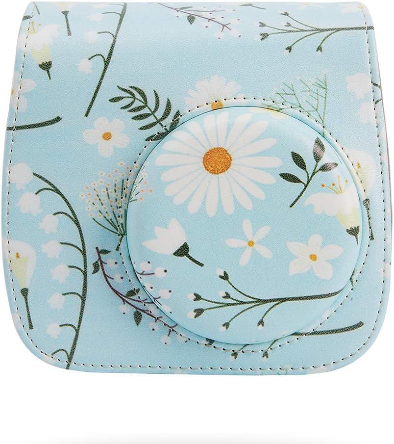 Annle Tasche Kompatibel mit Instax Mini 9 Mini 8 8 Eisblau A Sofortbildkamera aus Weichem Kunstleder mit Schulterriemen und Tasche