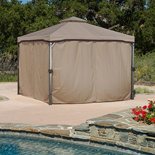 Great Deal Furniture Sonoma | Outdoor Fabric/Steel Gazebo Canopy | in Light Brown