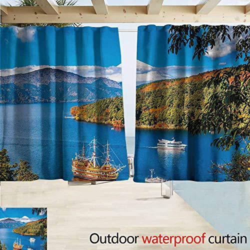 DocGike Pirate Ship Outdoor Curtain Panel for Patio Lake Ashi Mount Fuji Japan Town Hakone Travel Touristic Destination Simple Stylish W72 xL72 Green Blue Orange