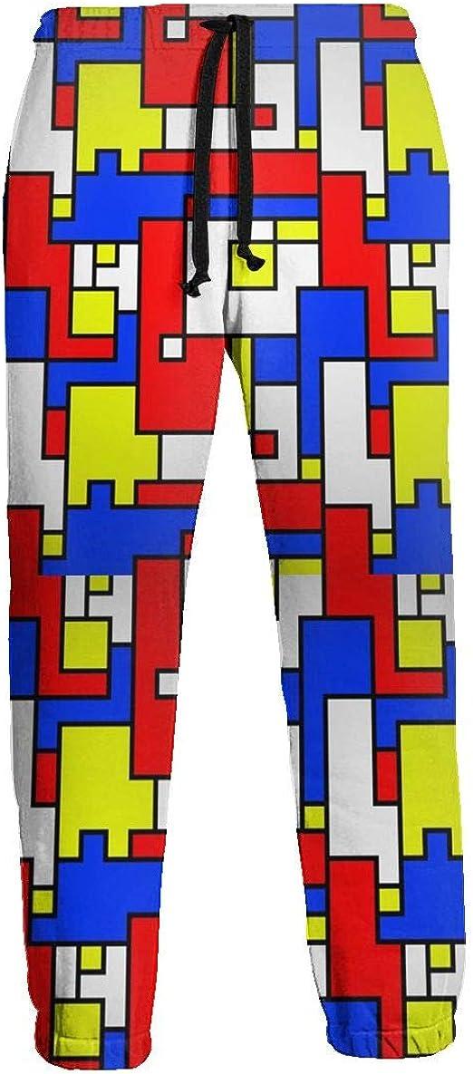 Yellow LSJYY Red Blue 3D Printing Mens Sweatpants,Sports Pants