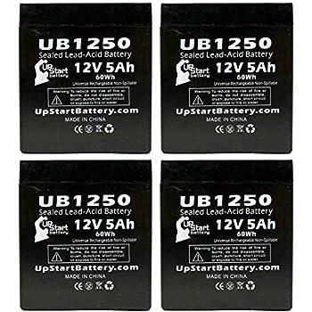 Amazon.com: 4 x Pack – Batería de repuesto (12 V, 5 Ah ...