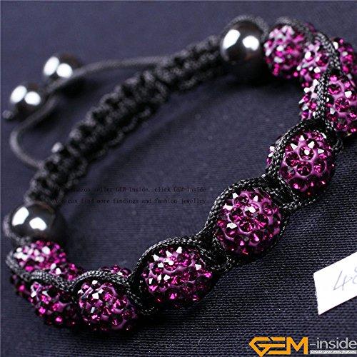 GEM-inside Purple 10mm Pave Shine Crystal Ball Beads Hand-Woven Bracelet Adjustable