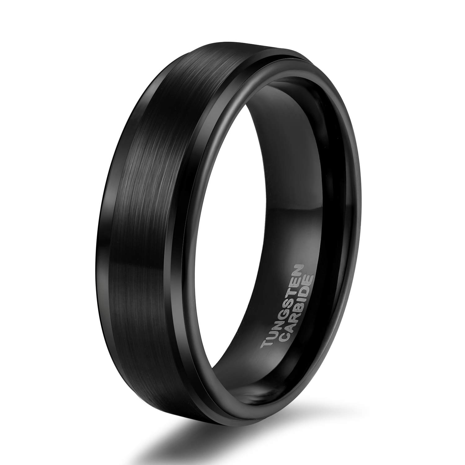 Shuremaster 6mm Black Tungsten Carbide Wedding Ring Band for Men Brushed Style Comfort Fit Size 5