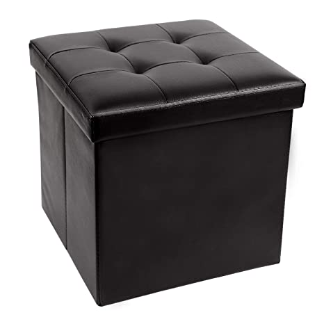 Surprising Redcamp 15 55L Faux Leather Storage Ottoman Cube Folding Small Ottoman Foot Rest For Bedroom Dorm Sofa Black Onthecornerstone Fun Painted Chair Ideas Images Onthecornerstoneorg