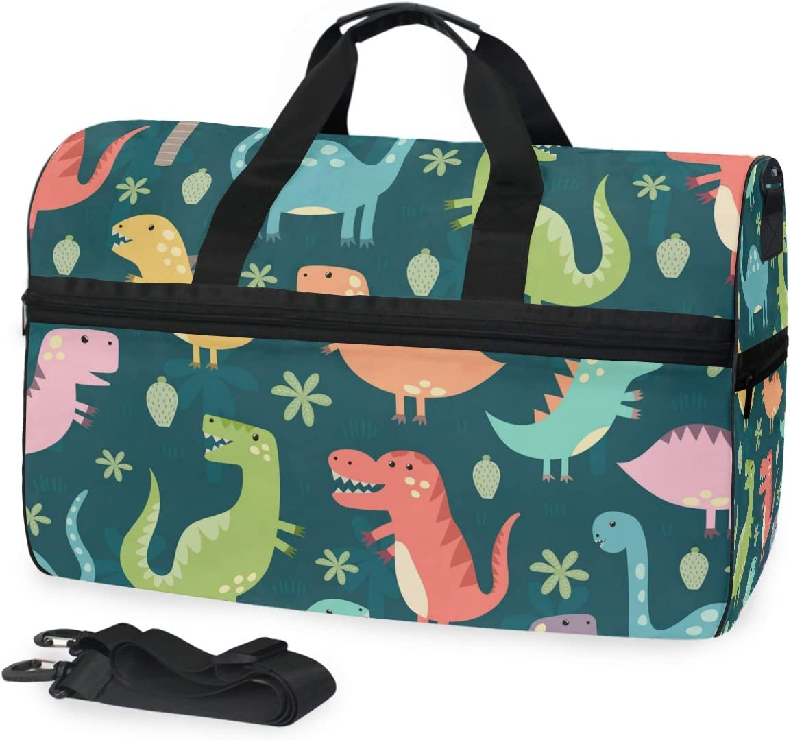 Dinosaur Cute Sports Gym Bag with Shoes Compartment Travel Duffel Bag for Men and Women