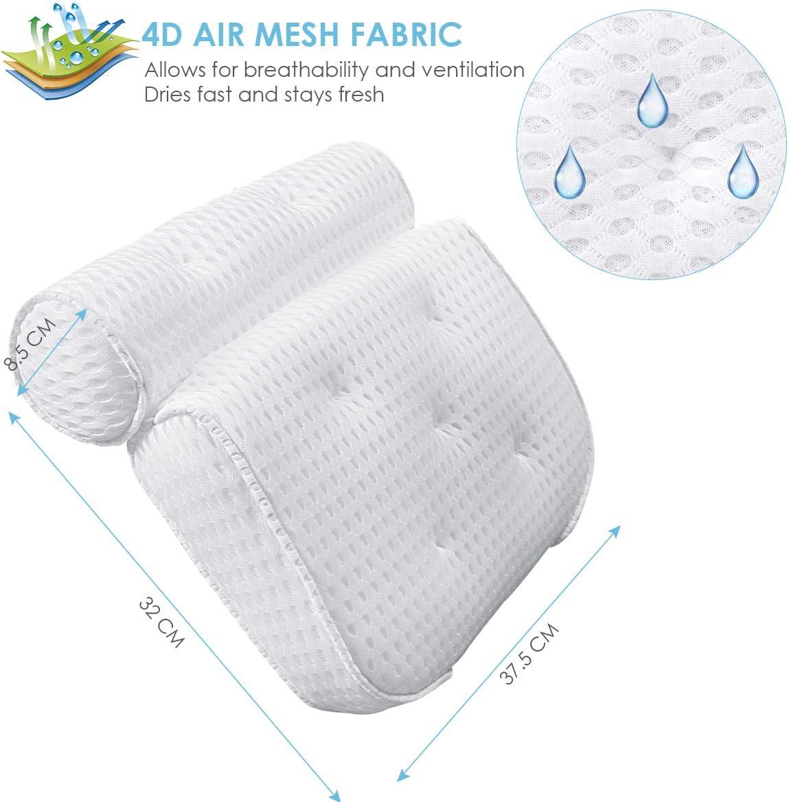 Supporto per Collo e Testa con Ventose 4D Air Mesh Antiscivolo HelloCreate Cuscino per Vasca da Bagno