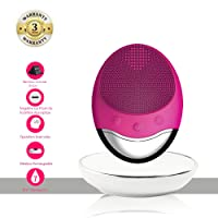 ANNA TOSANI Sonic Facial Cleansing Brush Anti-Aging Facial Massager for Sensitive Skin 3 in 1 Silicone Face Cleanser Wireless Rechargeable Pore Cleanser ,Deep Cleaning,Gentle Exfoliating,Removing Blackheads Acne Dark Spots