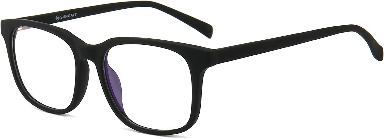 SUNGAIT Gafas para Anti luz Azul, para Computadora, Lectura, Video Juegos,Potente Filtro de luz Azul, Negro
