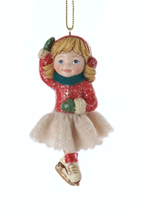 35 vintage girl ice skater in pose with red earmuffs christmas ornament - Ice Skating Christmas Ornaments