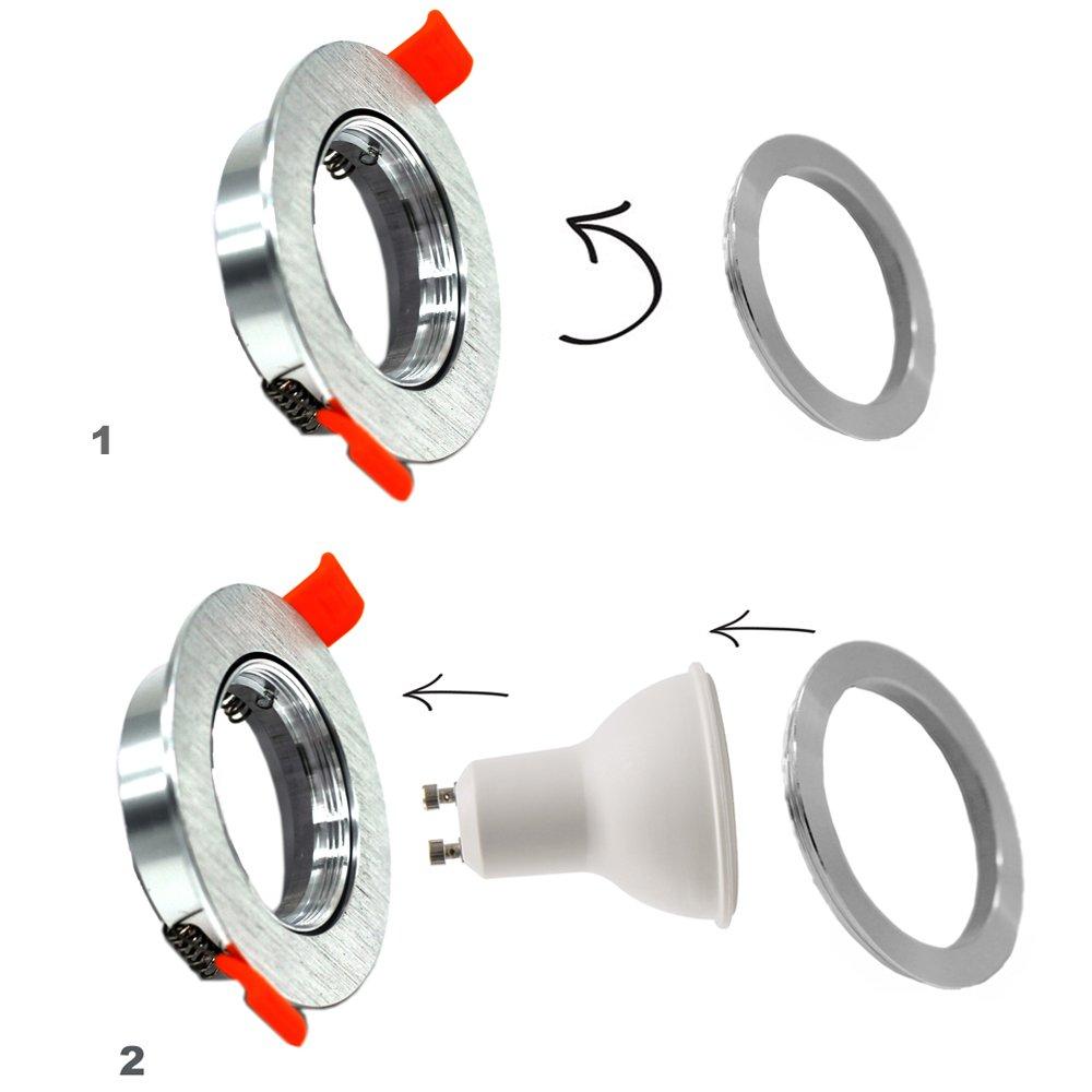 KHEBANG LM432 Foco Empotrable Aro Basculante Para Gu10/Mr16 (Blanco, Redondo) [Clase de eficiencia energética A]