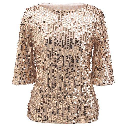 PlayWorld Women Girls Off Shoulder Sequins Loose Tank Top Tee Shirts S Gold
