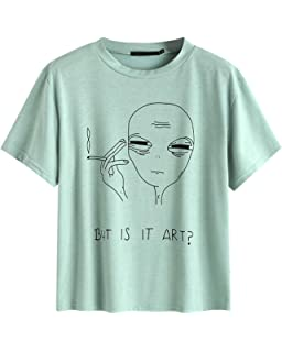 7292e245 BELLEZIVA Alien Shirt Casual Tops Letter Printed T Shirt Graphic Tees for  Women