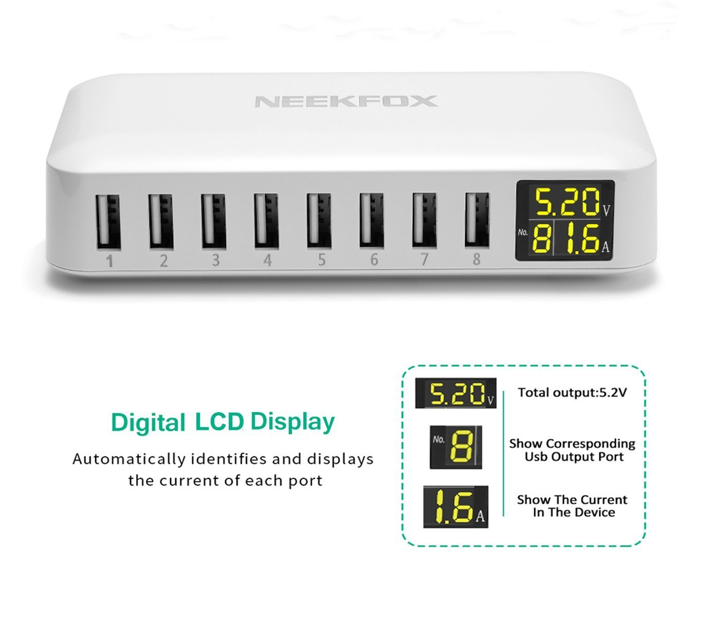 Multi USB Charger Charging Station iPad Samsung Galaxy//Note and More Desktop USB Station Compatible iPhone X // 8//7 // 7Plus // 6s // 6Plus NEEKFOX 8-Port USB Charger Station with LCD Display