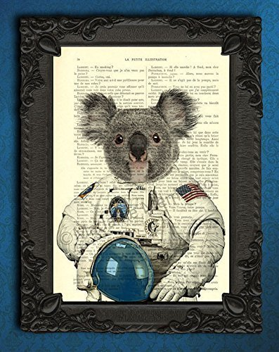 Koala bear astronaut in space poster, rocket travel art print